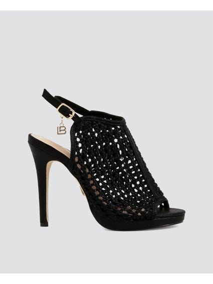 Black Cut Out Detailed High Heel Sandals