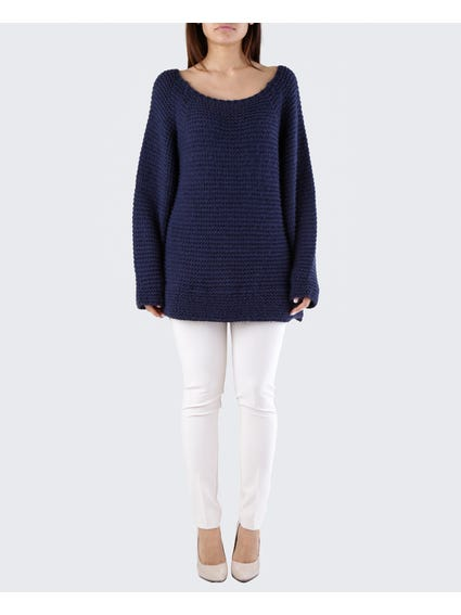 Navy Zigzag Pattern Sweater