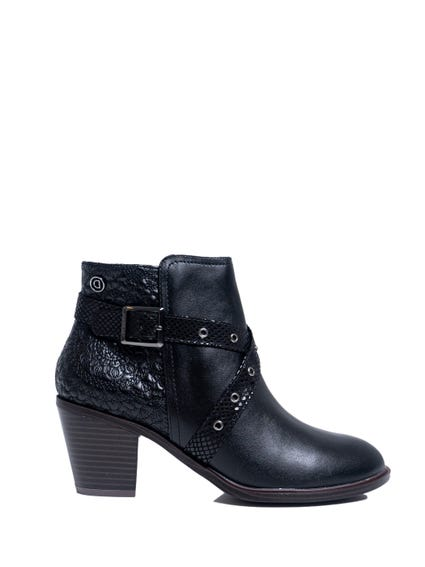 Black Pattern Buckle Ankle Boots