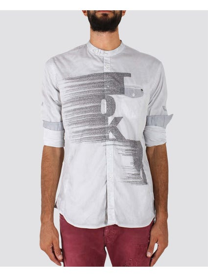 Grey Long Sleeve Close Neck Shirt with Front Design