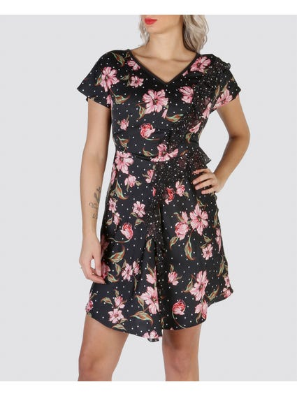 Black Floral Printed Dress