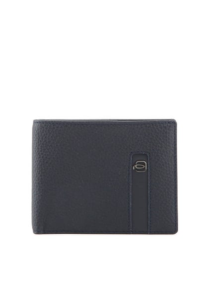Blue Leather Bi Fold Card Holder Wallet