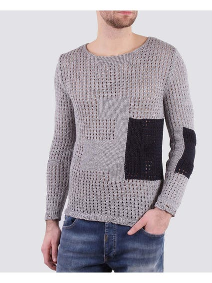 Grey Knitted Net Long Sleeves Top