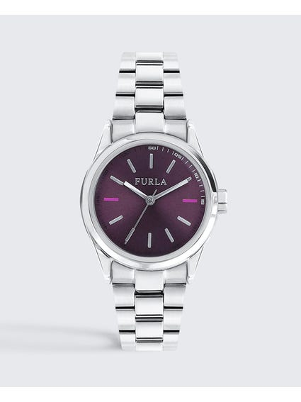 Silver Eva Purple Dial Analog Watch