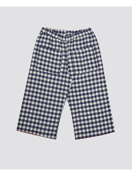 Checkered Front Pockets Kids Trouser