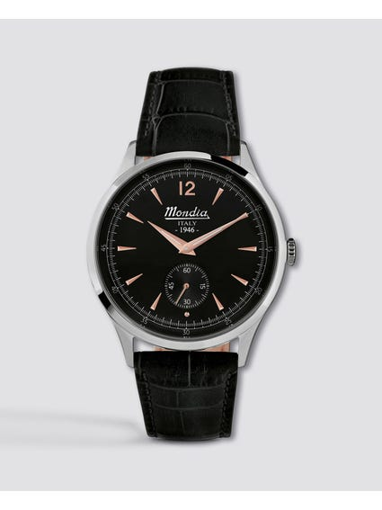 Black Dial Leather Analog Watch