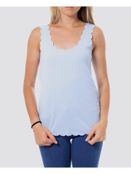 Blue Scallop Tank Tops
