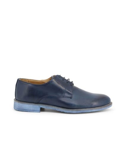 Blue Leather Crust Lace Up Shoes