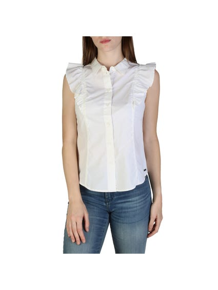 White Collar Ruffle Sleeve Button Shirt