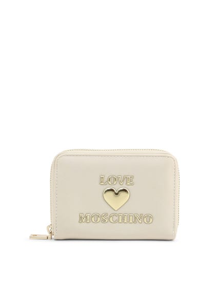 White Embossed Love Zip Wallet