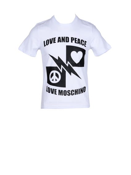 White Love Peace Print T-shirt
