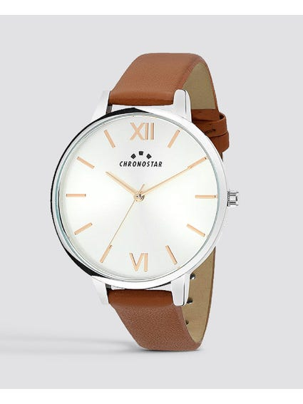 Round Dial Leather Analog Watch