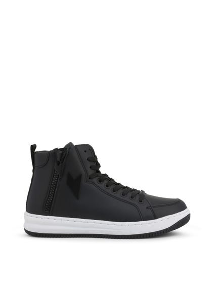 Black Hi Top Side Zip Sneakers