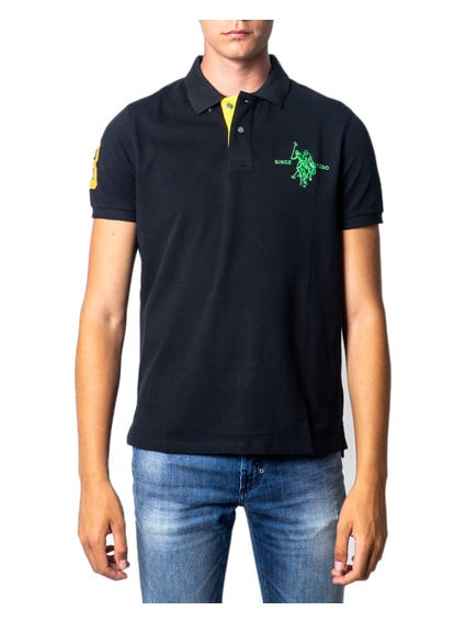 Black Collar Logo Button Polo Shirt