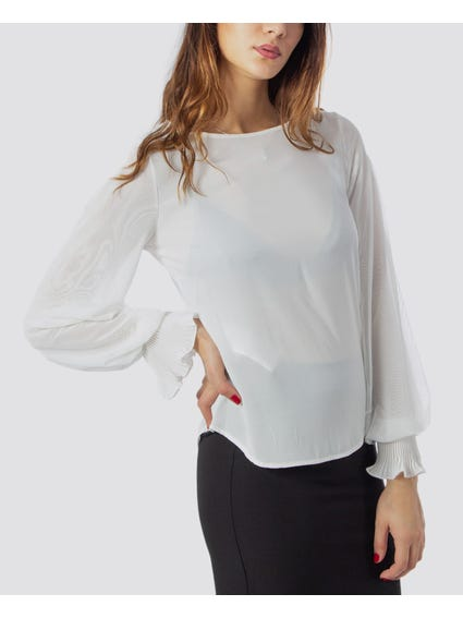 White Round Neck Long Sleeve Blouse