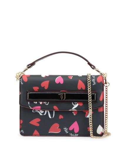 Black Heart Graphic All Over Clutch Bag