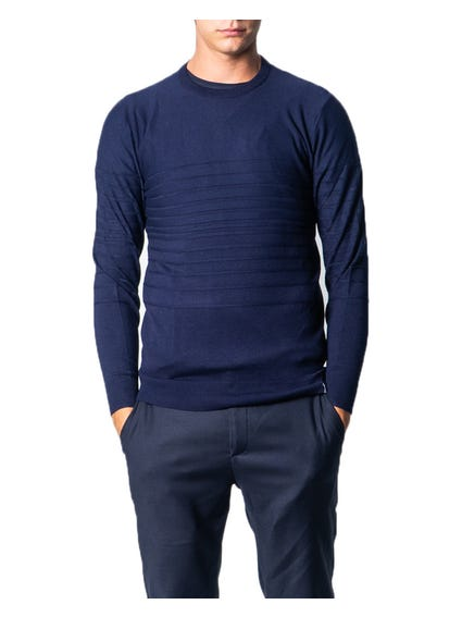 Blue Crew Neck Pattern Knitwear