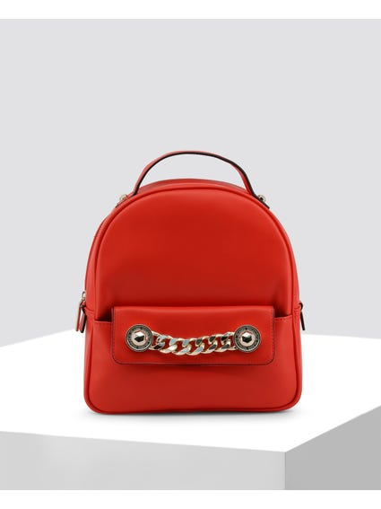 Red Chain Embellished Backpack