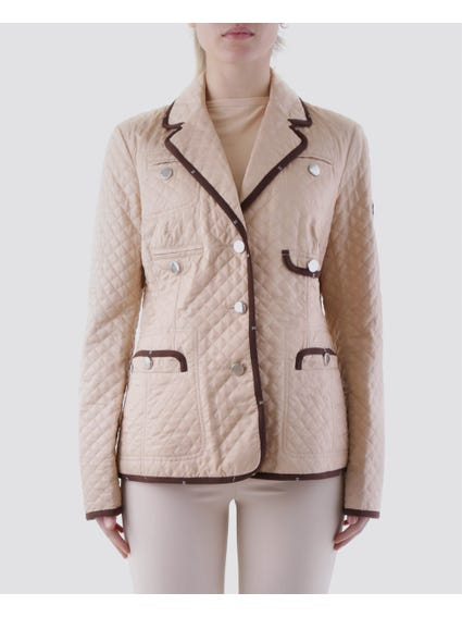 Beige Lapel V-neck and Allover Pocket Blazer Jacket
