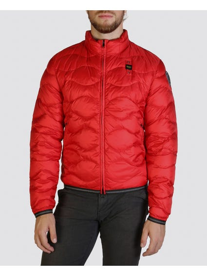 Red Bomber Bubble Jacket