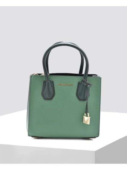 Green Textured Leather Satchel