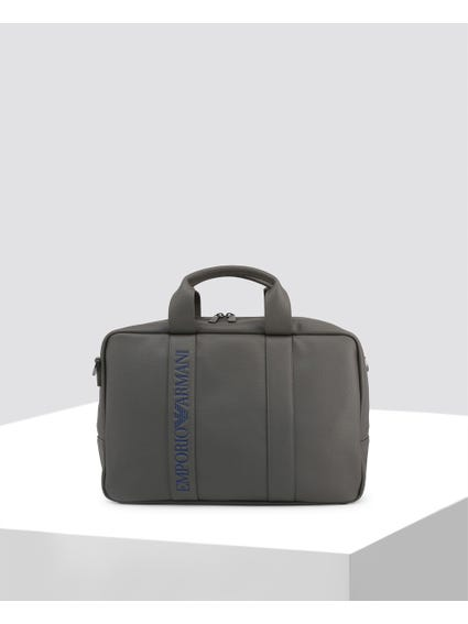 Grey Logo Leather Briefcase