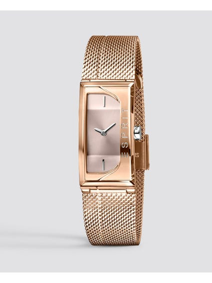 Rose Gold Rectangular Stainless Steel Watch