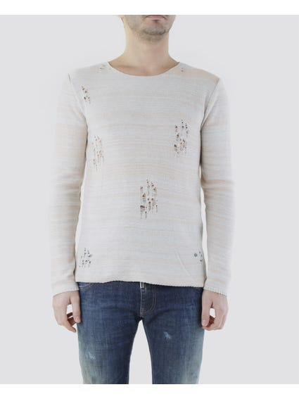 Ripped Effect Long Sleeves Sweater