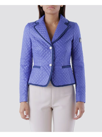 Blue Lapel V-neck Blazer Jacket