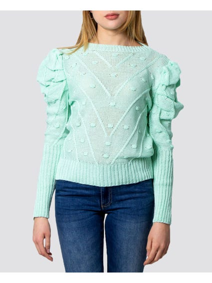 Light Green Balloon Sleeves Knitted Sweater