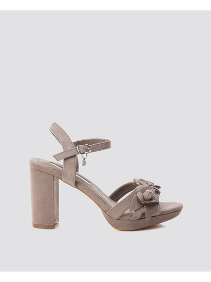 Taupe Flower Ankle Strap Sandals