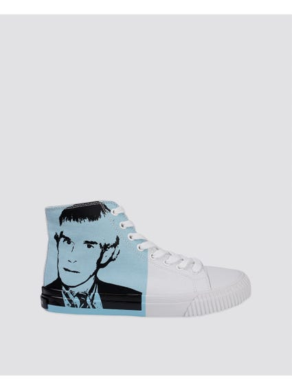 White High Cut Printed Sneakers