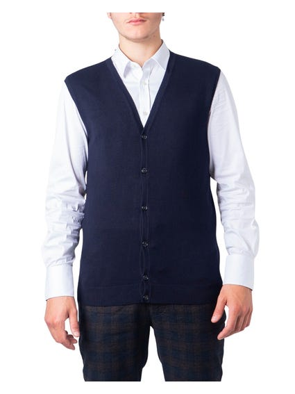 Blue Plain Button Gilet