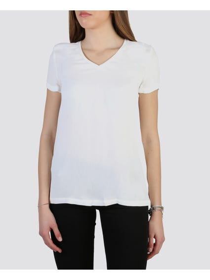 White V-Neck Short Sleeve