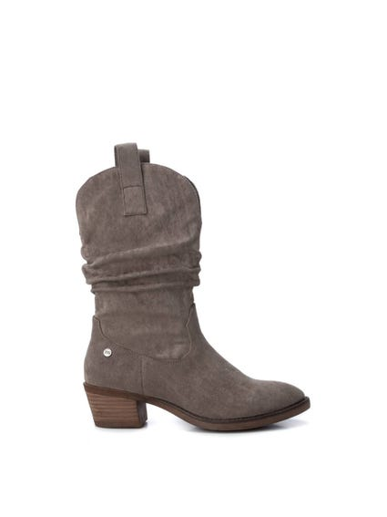 Grey Side Zip Ankle Boots