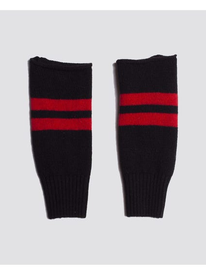 Black Contrast Stripe Kids Cuffs