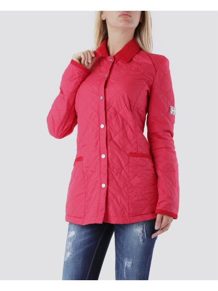 Red Up to Waist Jacket with Big Open Pocket