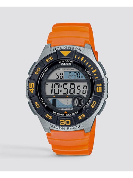 Orange Resin Band Digital Quartz Watch