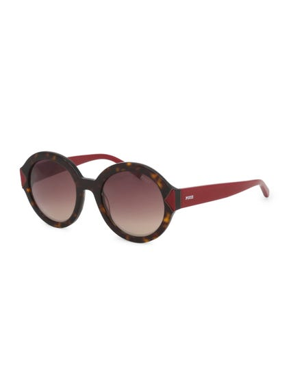 Maroon Brown Temple Round Frame Sunglasses