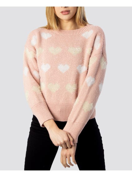 Pink Heart Print Knitted Sweater