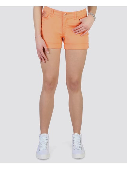 Orange Studded Chic Short