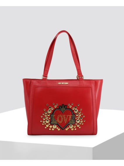 Red Love Studded Shopper Bag