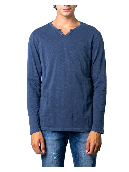 Blue Long Sleeve Plain T-shirt