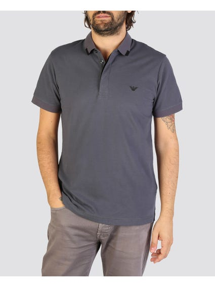 Grey Chest Embroidered Polo Shirt
