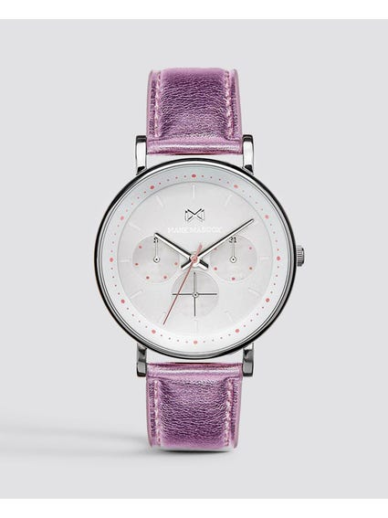 Pink Leather Analog Watch