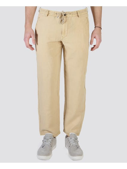 Beige Leo Washed Trouser