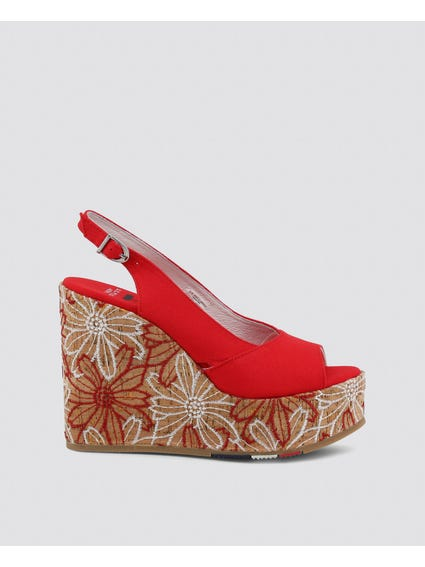 Red Goldy Embroidered Cork Heel Wedge Sandals