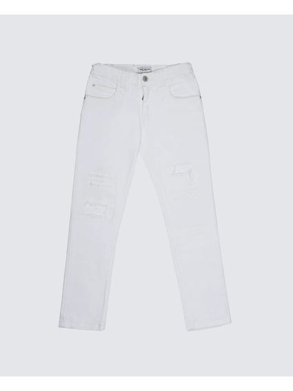 White Classic Full Length Kids Trouser