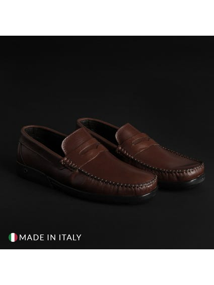 Brown Leather Low Top Slip On Moccasins