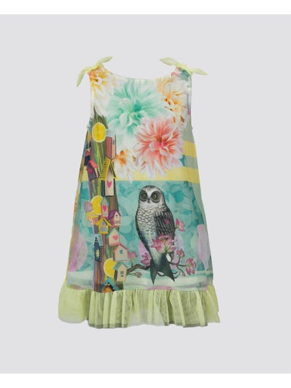 Nature Print Ruffle Kids Dress